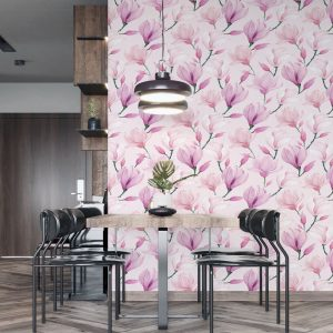 Pink magnolia wallpaper in peel and stick by the Wallberry