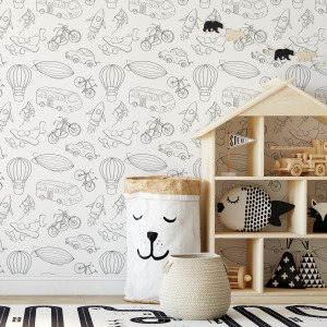 Cars and planes wallpaper in peel and stick for toddler room by The Wallberry