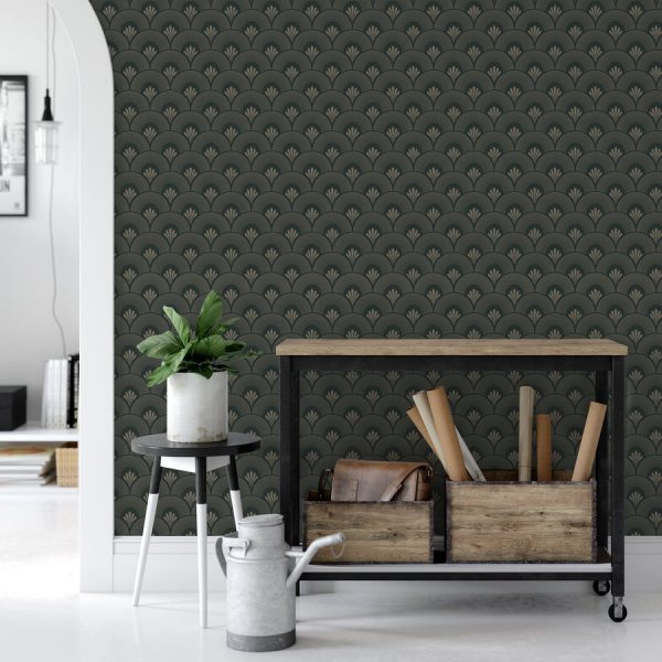 Art deco peel and stick wallpaper GATSBY in peel and stick by the Wallberry