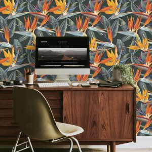 Strelitzia Bird of Paradise wallpaper in peel and stick by The Wasllberry