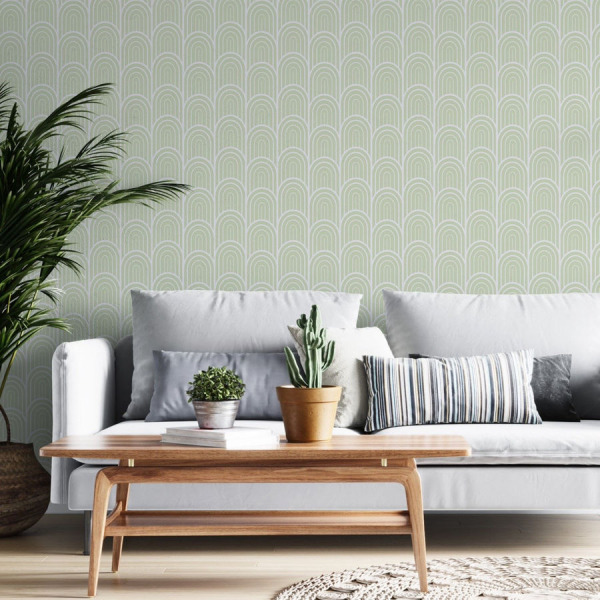 Sage Green Art Deco Wallpaper in Peel and Stick by The Wallberry
