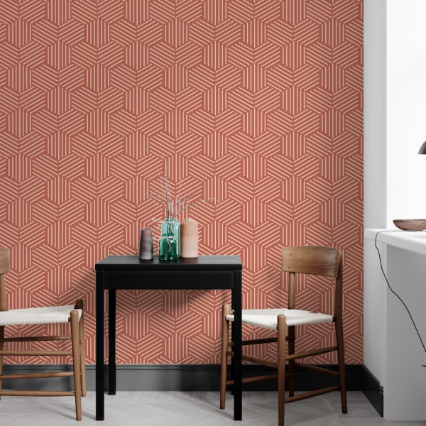 Terracotta wallpaper with honeycomb in peel and stick by The Wallberry