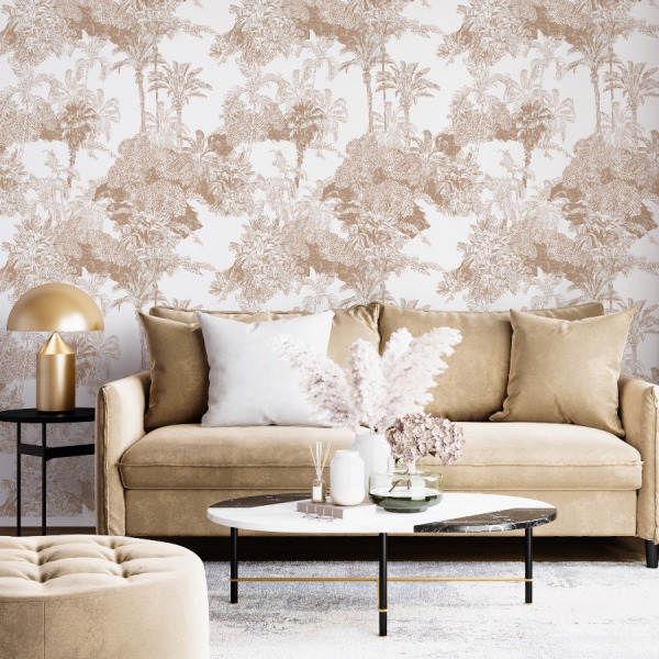 Beige toile de jouy wallpaper in peel and stick by the Wallberry