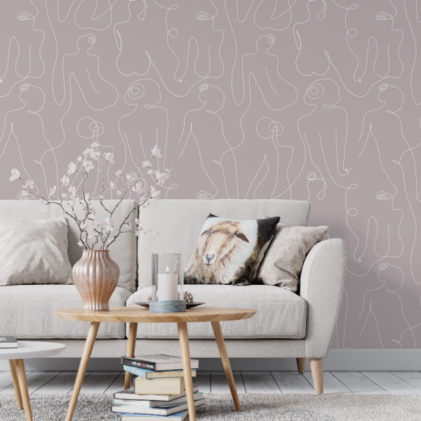 mauve pink female body lines wallpaper in peel and stick by The Wallberry