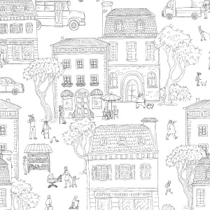city wallpaper with Parisian streets in peel and stick by The Wallberry