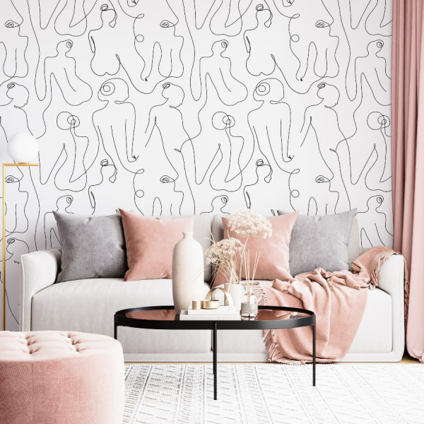 female line art wallpaper black and white in peel and stick by The Wallberry