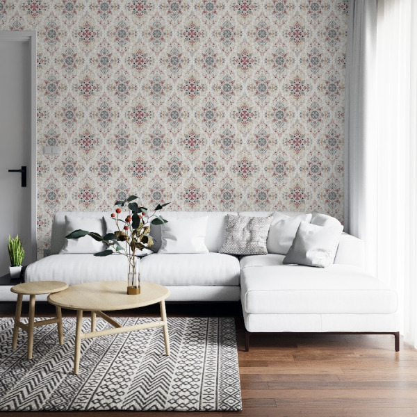 Moroccan tiles wallpaper in peel and stick by The Wallberry