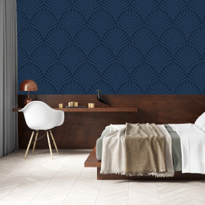 navy art deco wallpaper with leaf pattern by The Wallberry