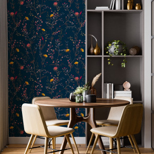 navy chinoiserie wallpaper peel and stick by The Wallberry