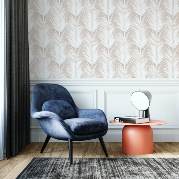 Nude palm wallpaper in peel and stick by The Wallberry