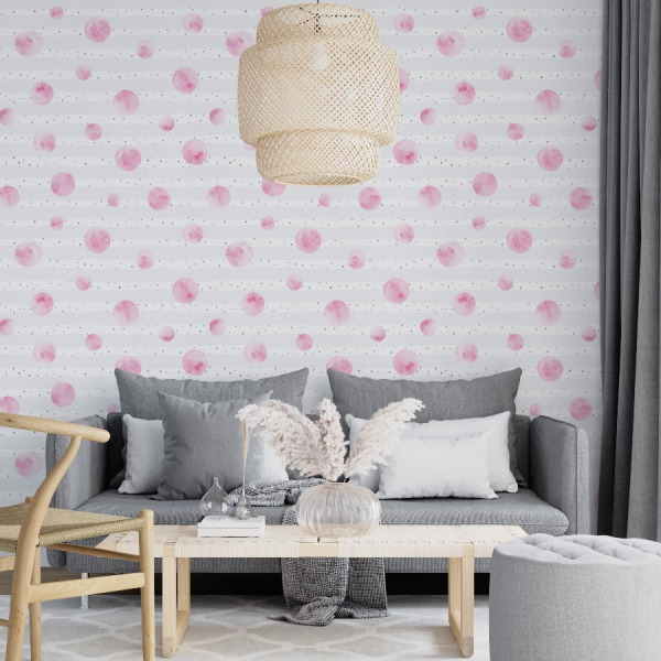Pink dots wallpaper in peel and stick by The Wallberry