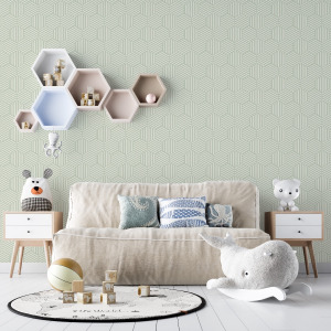 sage green geometric wallpaper with honeycomb pattern in peel and stick by The Wallberry