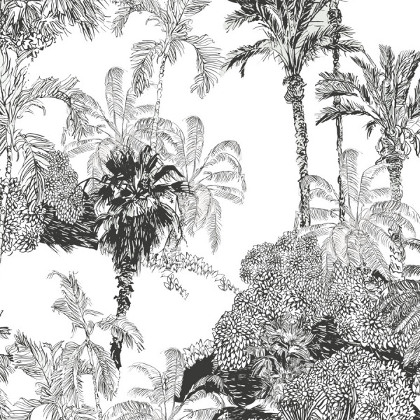 Tropical Toile de Jouy Wallpaper in Peel and Stick by The Wallberry