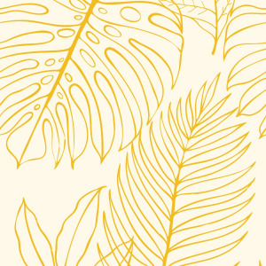 tropical yellow wallpaper with palm leaves in peel and stick by The Wallberry