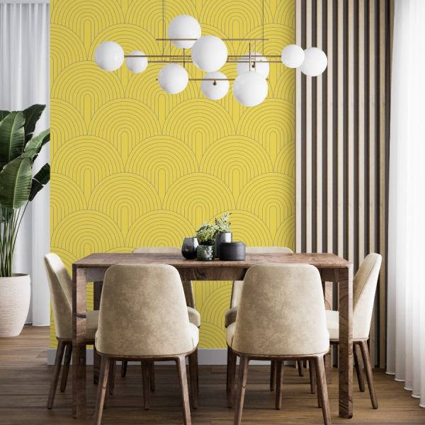 illuminating yellow wallpaper in peel and stick by The Wallberry