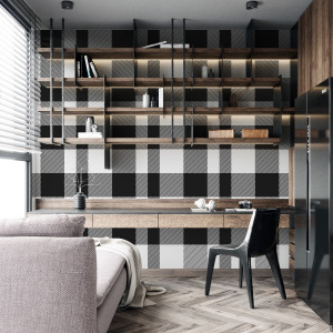 black plaid wallpaper with gingham pattern in peel and stick by The Wallberry