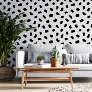 brush stroke wallpaper in black and white by The Wallberry