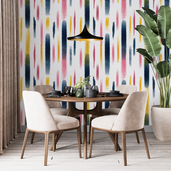 Colorful brush strokes wallpaper in peel and stick by The Wallberry