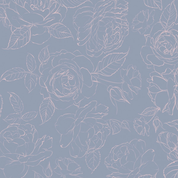 dusty blue peony wallpaper in self adhesive by The Wallberry