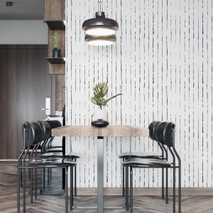 minimalist lines wallpaper in black and white, self adhesive by The Wallberry