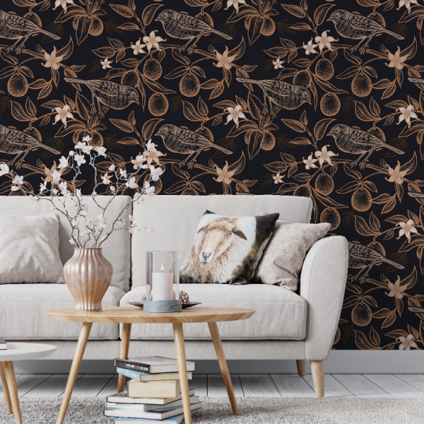 moody floral wallpaper in peel and stick by The Wallberry
