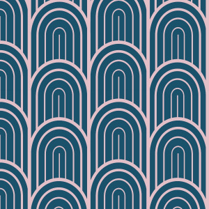 navy art deco wallpaper in blue and pink self adhesive material by The Wallberry