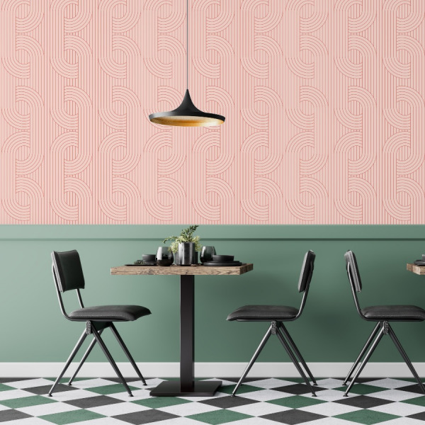 pink art deco wallpaper in peel and stick by The Wallberry