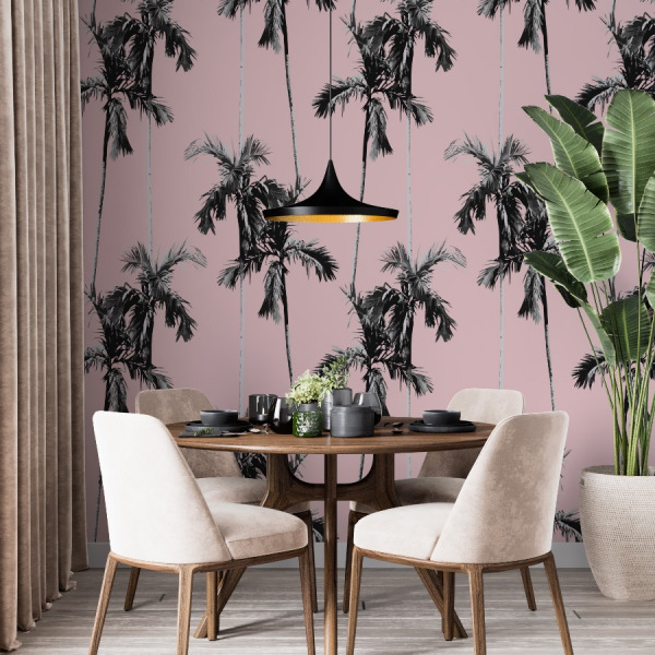 pink palm trees wallpaper in peel and stick by The Wallberry