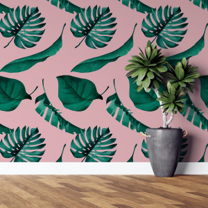 pink tropical wallpaper - cartoon jungle peel and stick by The Wallberry