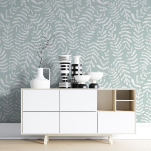 eucalyptus wallpaper in sage green peel and stick by The Wallberry