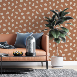 brush stroke wallpaper in burnt orange, peel and stick by The Wallberry