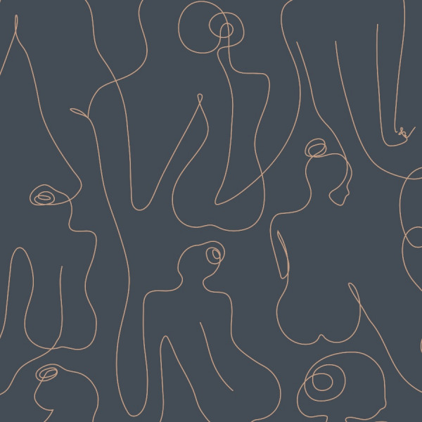 women line art wallpaper in dark navy, peel and stick by The Wallberry