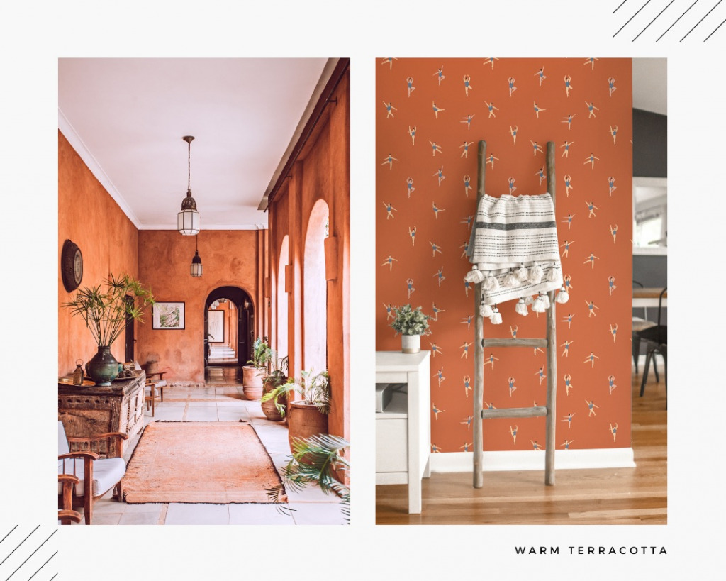 warm terracotta wallpaper as one of interior color trends