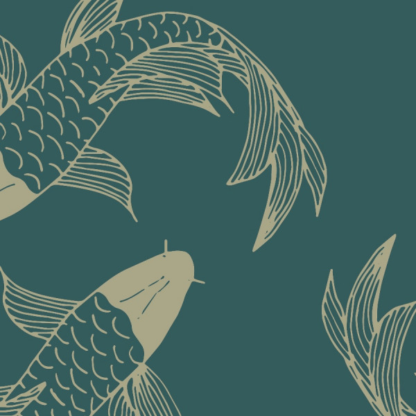 Green koi fish wallpaper in peel and stick