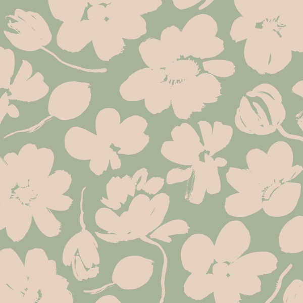 green poppy wallpaper in peel and stick