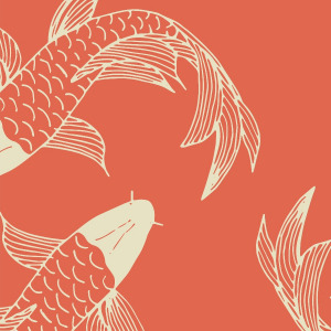 orange koi fish wallpaper in peel and stick