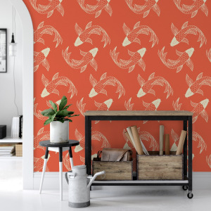 orange koi fish wallpaper in peel and stick