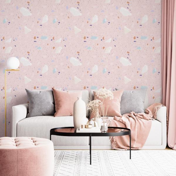 Pink Terrazzo Wallpaper in peel and stick