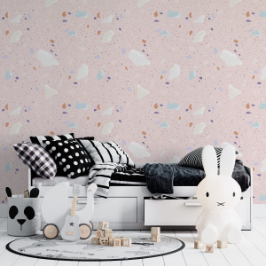 Pink Terrazzo Wallpaper in peel and stick