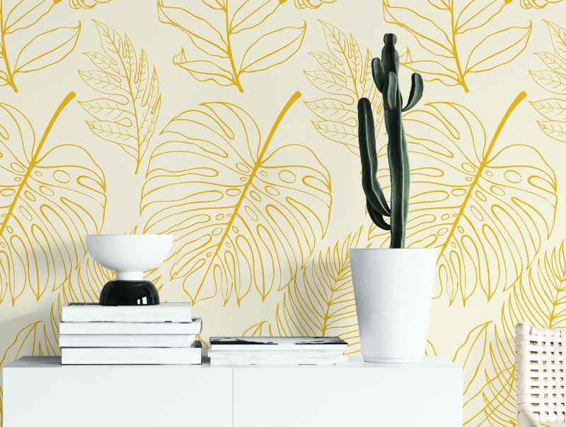 tropical yellow peel and stick wallpaper