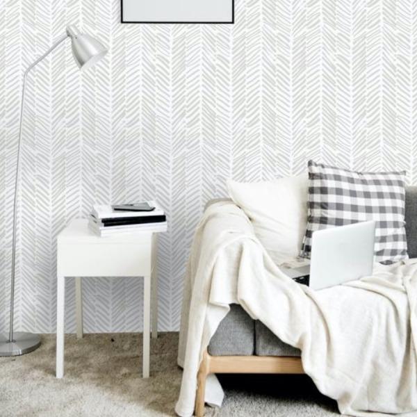 Grey Herringbone Wallpaper in peel and stick