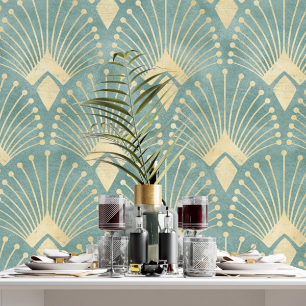 Turquoise teal art deco wallpaper in peel and stick