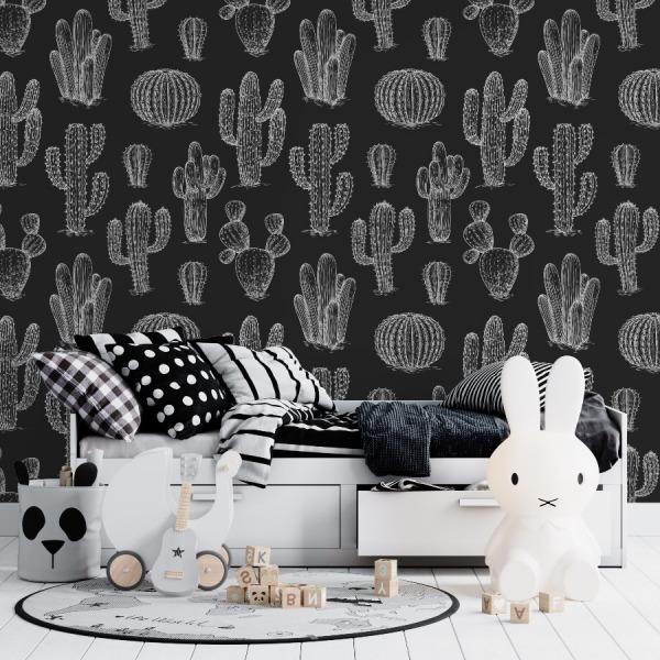 black cactus wallpaper in peel and stick