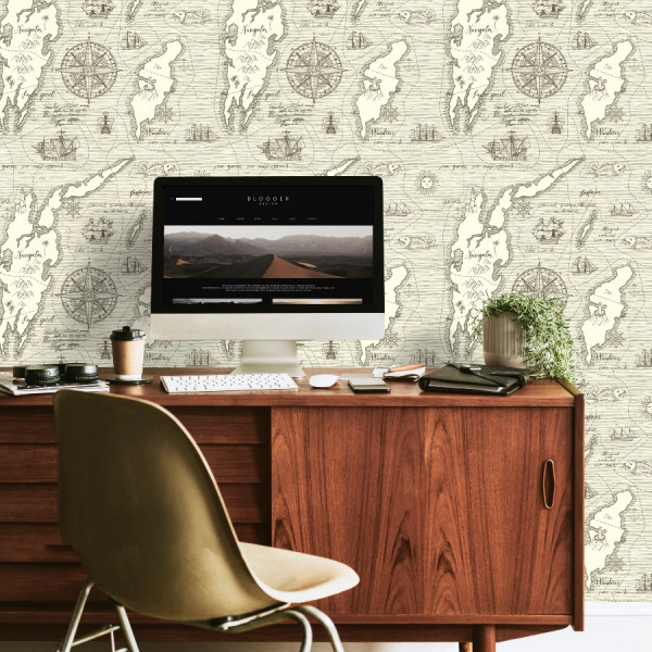 vintage world map wallpaper in peel and stick