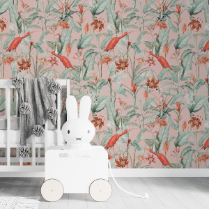 pink tropical birds wallpaper in peel and stick