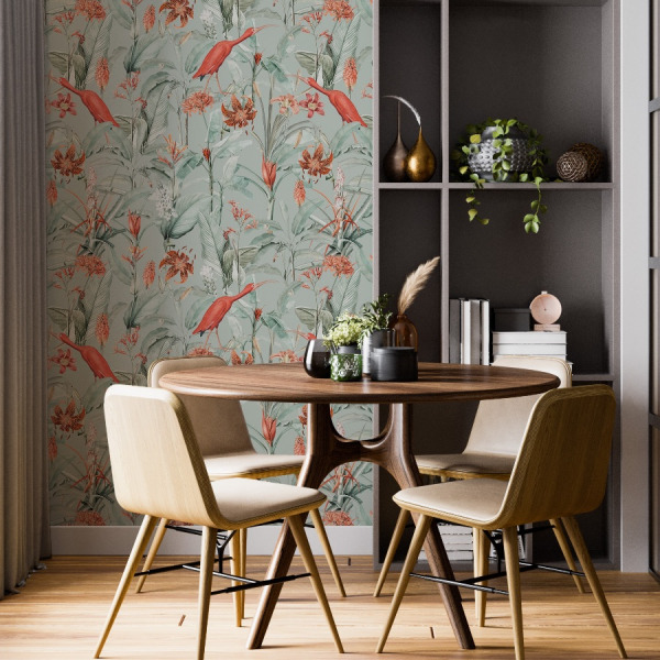 tropical birds wallpaper, sage green peel and stick