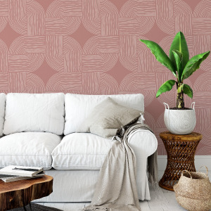 mauve wallpaper with abstract lines in peel and stick